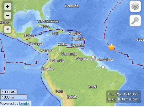 There is no tsunami threat after a 6.4 earthquake reported at 12:04 p.m. on Mon. June 24, 2013 in the Northern Mid-Atlantic Ridge. Map imagery courtesy USGS/ powered by Leaflet.