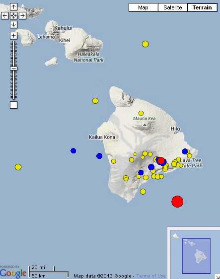 5.6 Hawaiʻi Island earthquake, 2:13 p.m. June 4, 2013. Map courtesy Hawaiian Volcano Observatory and Google Maps.