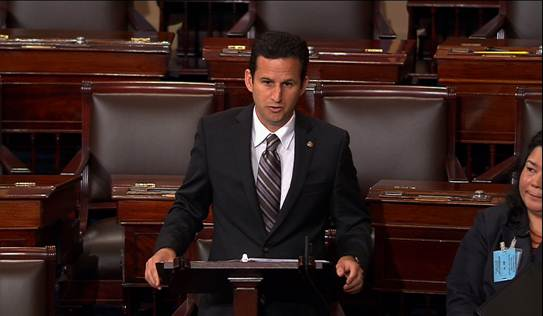 US Senator Brian Schatz delivering today's floor speech, 6/11/13. Courtesy photo, Office of US Sen. Brian Schatz.