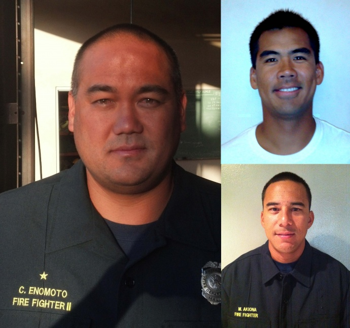 Clement Enomoto (left); Jesse Aloy (top right); and Matthew Akiona (bottom right). Photos courtesy Maui Department of Fire and Public Safety.