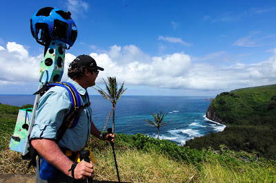 Hawaii Forest and Trail President Rob Pacheco sports the Trekker equipment as he prepares for a descent into Pololu Valley in North Kohala. Google Maps Blog photo.