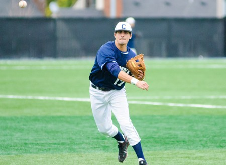 Former St. Anthony High School standout Ryan Rodriguez makes a  at second base during the 2012 baseball season. Photo by Concordia Athletics.