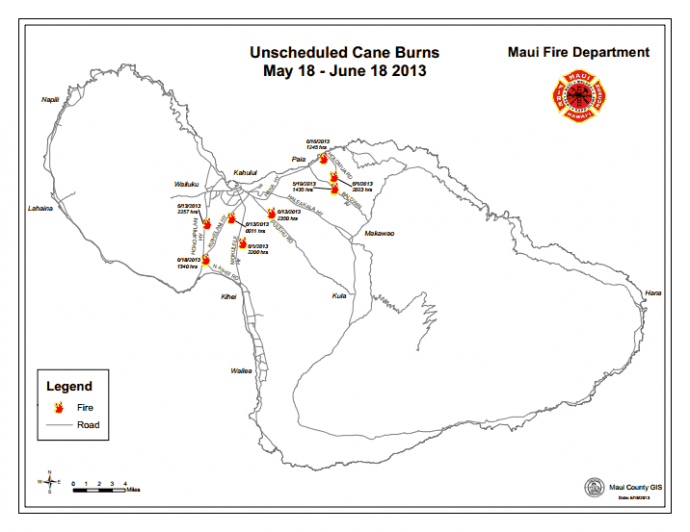 Map of unscheduled cane burns. Image courtesy County of Maui.