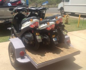 On Friday, July 5, 2013 at about 6 a.m., a utility/moped trailer was reportedly stolen from the rear parking lot of the Midway Center located at 111 Hāna Highway in Kahului. Photo courtesy Maui Police Department Facebook.