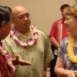 Sen. Gil Keith-Agaran (middle) awaits signing of Maui legislation alongside Maui Mayor Alan Arakawa (left) and Sen. Roz Baker (right). Photo by Wendy Osher.