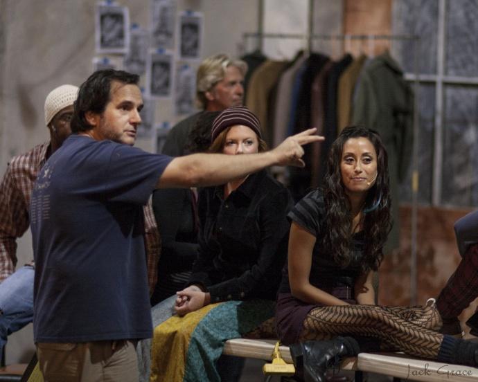Steven Descoulias directs the cast of RENT.