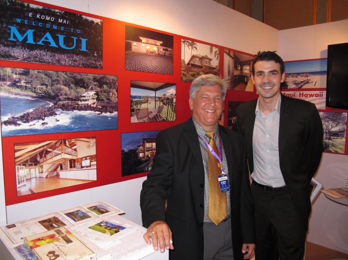 Tom Tezak (left) of Wailea Realty met with Luxury Properties Showcase Beijing 2013, Sales & Marketing Manager Alex Bena during the prestigious three-day exhibition. Courtesy photo.