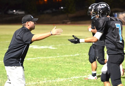 Former King Kekaulike defensive coordinator Kyle Sanches (left) is now the head coach at the Upcountry school. File photo by Rodney S. Yap.