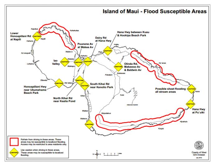 Flood susceptible areas on Maui, courtesy County of Maui.