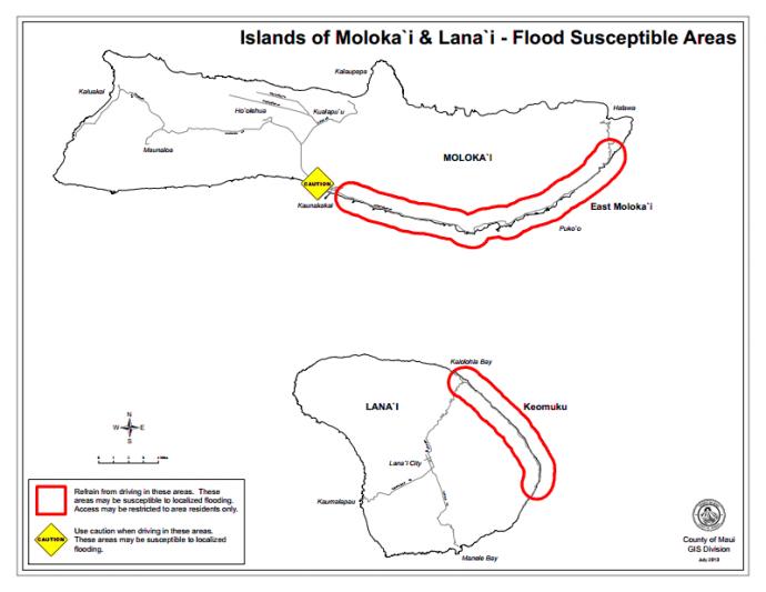Flood susceptible areas on Molokai and Lanai, courtesy County of Maui.