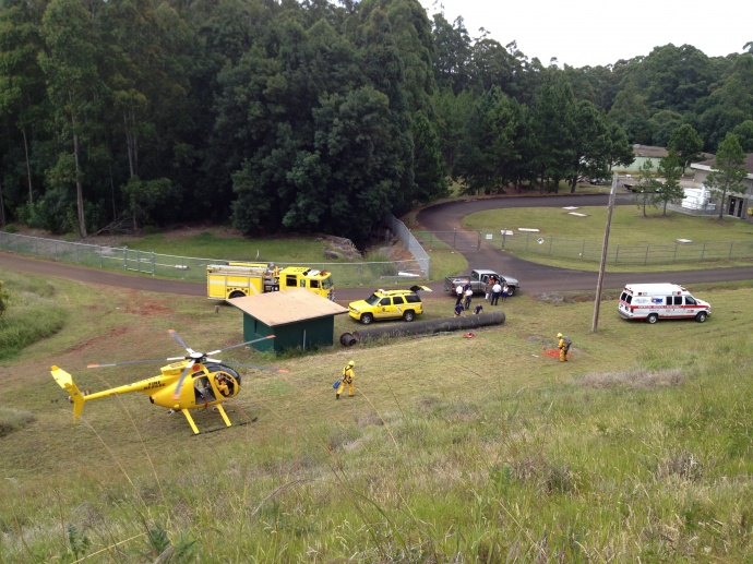 Makawao Forest Reserve rescue, July 4, 2013.  Photo courtesy BH.