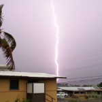 Lightning over Kahului, 7/29/13, photo courtesy Bobbi-Lin Kalama.