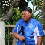 Mayor Arakawa discusses contingency plans as Flossie nears.  Photo by Wendy Osher.