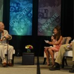 The late Hawaii U.S. Sen. Daniel Inouye chatted with MC's Lindzi Takasaki and Bryce Ribucan on stage during last year's MEDB Ke Alahele Education Fund dinner. Courtesy photo.