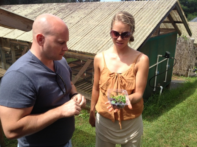 Chef Dan Kluger on a tour of Aina Lani Farm earlier today. Courtesy photo