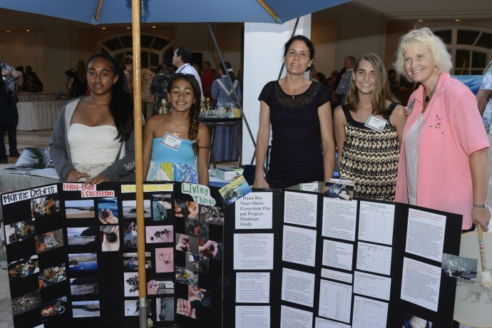 "Hāna School students and their mentors shared their experiences from a STEM project featuring interaction with students in neighboring Pacific coastal communities. From left: Sheriah Day Ng, Sara-Ann Kanakaole, Hana School teacher Margaret Magonigle, Kassidy Smith and Margaret ""Maggie"" Prevenas, a Kalama Intermediate School teacher who also mentored the Hana students. Photo courtesy MEDB."