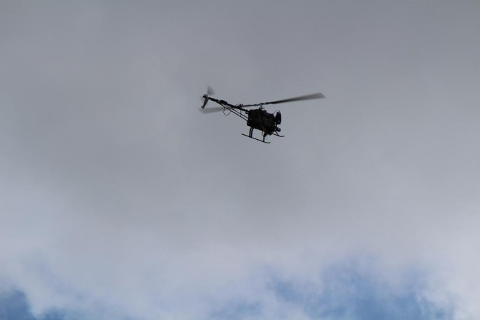 Unmanned Aerial Vehicle to be used to improve irrigation practices and crop yield at HC&S. Photo by Wendy Osher.