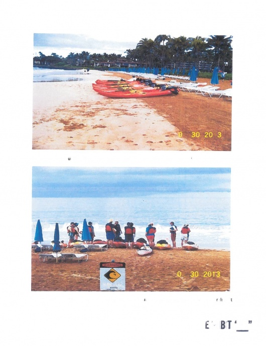Photos taken by DLNR staff of the unauthorized commercial activities on Wailea Beach by Maui Ocean Activities. Photo courtesy of DLNR.