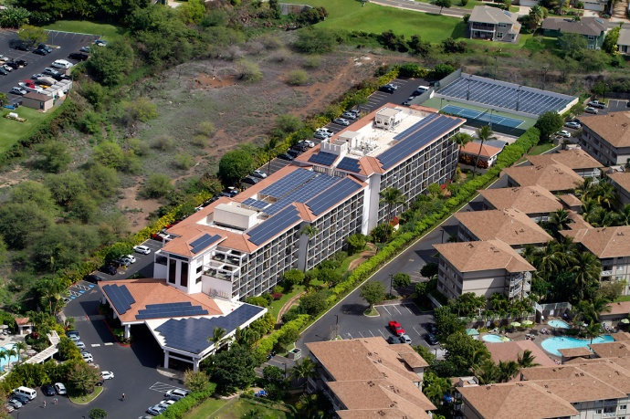 Solar installations at the Maui Coast Hotel, file photo courtesy Sarah Ruppenthal.
