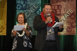 "Mayor Alan Arakawa and his wife, Ann, savored their roles as game show hosts of ""Are You Smarter than a STEM 5th-grader?"" at the 2013 Ke Alahele Education Fund Dinner & Auction. More than 600 people attended the event, which garnered $313,254 Saturday night at the Grand Wailea Resort. Photo courtesy MEDB."