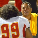 Mission Viejo defensive tackle Neff Haleakala finds his dad, Valentine Haleakala Jr., after Friday's game against Baldwin at War Memorial Stadium.  Photo by Rodney S. Yap.
