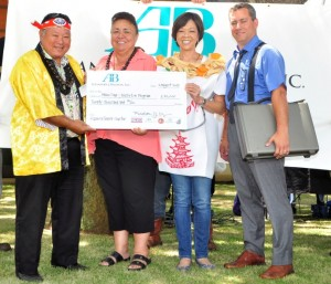 Mayor and Housing Director Jo-Ann Ridao receive donation from A&B's Meredith Ching (second from right) and Rick Volner. Photo courtesy: County of Maui / Ryan Piros.