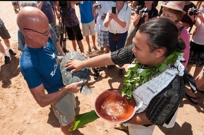 Blessing and Release.  Photo courtesy Zane Mathias and Maui Ocean Center.
