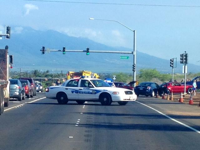 Piʻilani Highway at Kanai Road accident, 8/20/13. Photo by Vanessa Wolf.