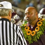 Baldwin head coach Keneke Pacheco earned his first MIL win and the game ball Friday after Baldwin defeated Maui High, 33-13. Photo by Rodney S. Yap.