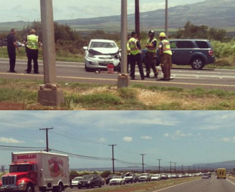 Māʻalaea traffic accident, 8/7/13. Photo courtesy, Kaniala Masoe.