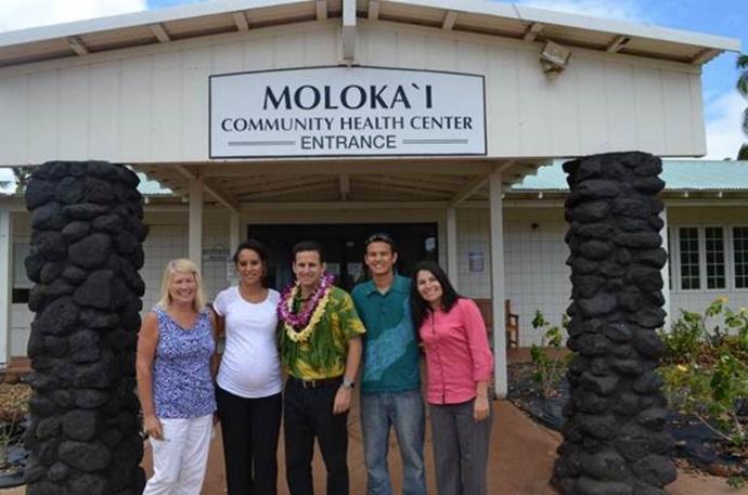 US Senator Brian Schatz at the Molokaʻi Community Health Center. Courtesy file photo, August 2013.