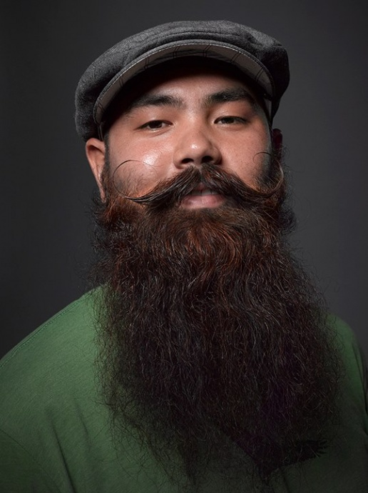 Josh Aguinaldo of Waiehu, Maui: Silver medalist in the Full Beard Styled Moustache division.  Photo courtesy Greg Anderson Photography, gregandersonphoto.com/