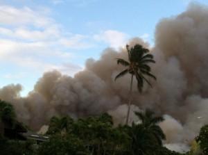 Cane burning, Kahului side of Baldwin Ave. Photo courtesy Valerie Toro.