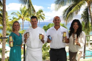 In the photo from left to right are Assistant Banquets Manager Angela Bliss, Executive Chef Roger Stettler, Maui Brewing Co. Brewmaster Garrett Marrero, and Marketing & PR Coordinator Crissa Hiranaga.