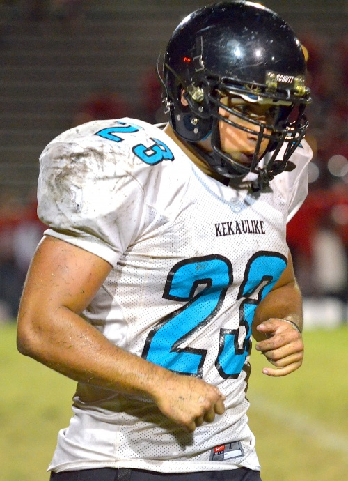 King Kekaulike running back Jay Braun rushed for 45 yards on 19 carries Friday against Lahainaluna. Photo by Rodney S. Yap.