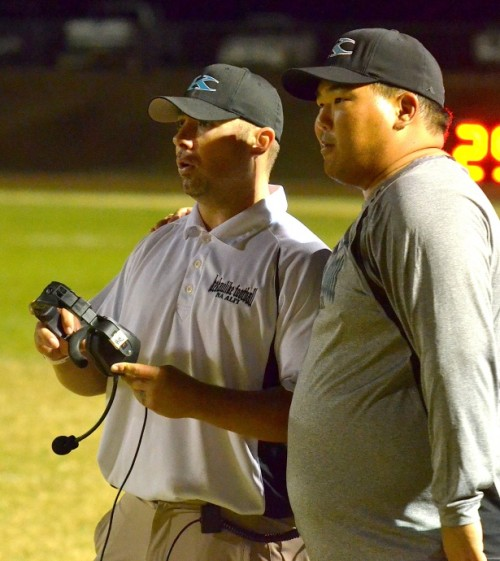 King Kekaulike head coach Kyle Sanches (left) and offensive line coach Trent Nakashima check their special team's personnel following Christian Garcia Alvarez' 62-yard fumble return for touchdown in the fourth quarter Friday night. Photo by Rodney S. Yap.