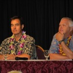 Dr. Ken Miller, Chief Investment Strategist and Director of Investment Services for First Hawaiian Bank (left), and Dr. Jack Suyderhoud, Professor of Business Economics at Shidler College of Business at the University of Hawai'i.  Photo by Wendy Osher.