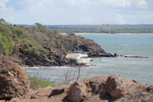 Grounded vessel at McGregor Point, Maui, Sept. 10, 2013.  Photo by Wendy Osher.