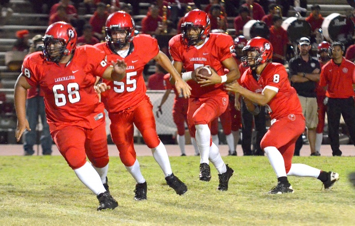 Lahainaluna's potent running game starts at the point of attack with pulling linemen
