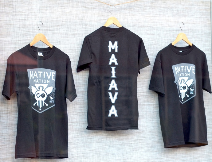 """The exclusive Kaluka Maiava """"Native Nation"""" t-shirt goes on sale today at Maui Thing in Wailuku. The shirt is prominently displayed in the store's window front. Photo by Rodney S. Yap."""
