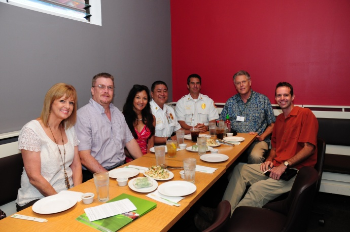 Monsanto's Carol Reimann (third from left) and David Stoltzfus (on far right) host a luncheon for grant recipients (pictured left to right): Carlayna Nakamura and Dave Jorgensen of the Maui Memorial Medical Center Foundation, Carol Reimann, Captain Lee Mainaga and Chief Jeff Murray of the Maui County Fire & Public Safety Department, Tony Kreig of Hale Makua Health Services and David Stoltzfus. Photo by: Monsanto
