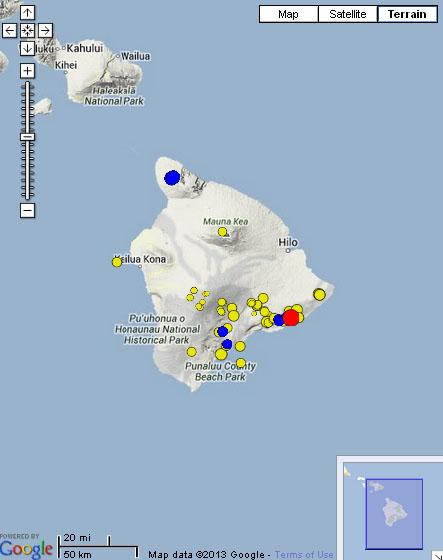 Hawaiʻi Earthquake, 9/26/13. Image courtesy HVO and Google maps.