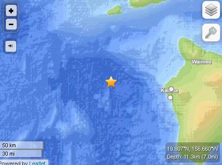 3.2 Hawaiʻi earthquake, 9:13 a.m. Sept. 30, 2013. Image courtesy USGS and Leaflet.