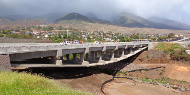 Seen here after completion, the bridge design eliminates the need for foundation pillars below which leaves the Kahoma Stream unobstructed. Photo courtesy state Department of Transportation.