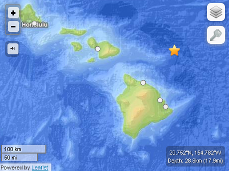 Labor Day earthquake off Hawaiʻi Island. Courtesy USGS powered by Leaflet.