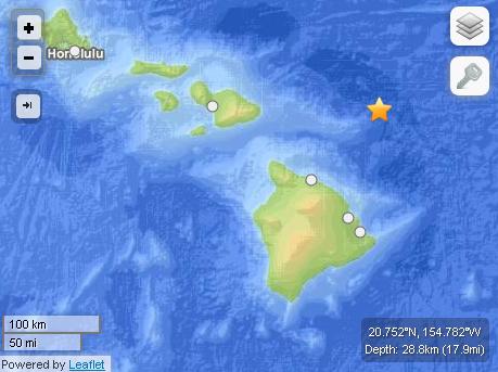 Labor Day earthquake off Hawaiʻi Island. Courtesy USGS powered by