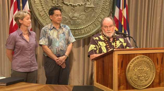 Governor Neil Abercrombie speaks on marriage equity. Image courtesy still frame, USTREAM video, Gov. Abercrombie.