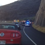 Honoapiʻilani Hwy, accident 9/25/13.  Photo by Chuck Bergson.