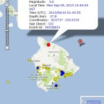 Waimea earthquake, 9/9/13. Image courtesy Google maps and Hawaiian Volcano Observatory.