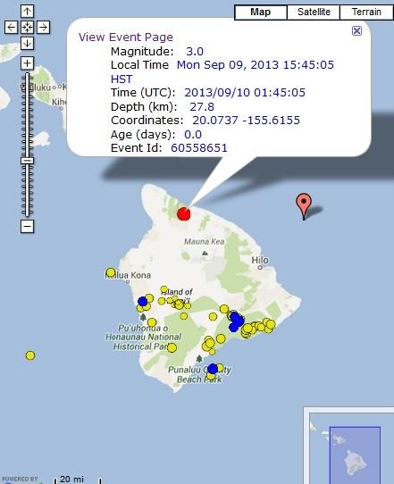Waimea earthquake, 9/9/13. Image courtesy Google maps and Hawaiian Volcano Observatory.